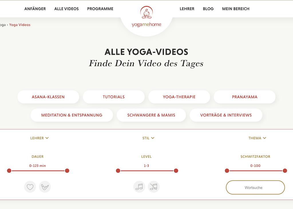 Screenshot Menü YogaMeHome Online Yoga Studio für zu Hause